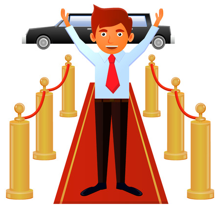 Man on necktie standing on red carpet entrance vector