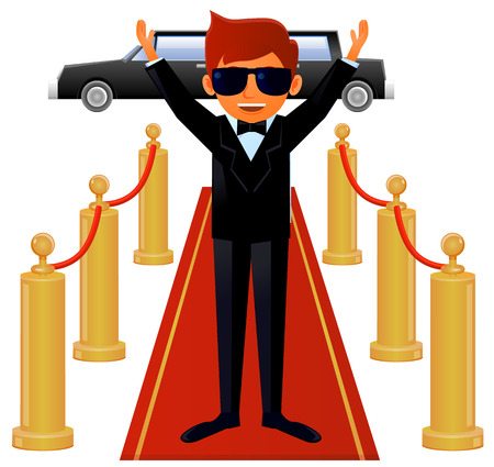 Actor wearing tuxedo on red carpet entrance vector Illustration