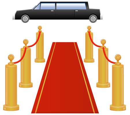 Rode loper entree met limousineauto