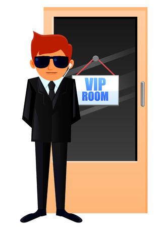 security staff: Security staff guarding a VIP room Illustration