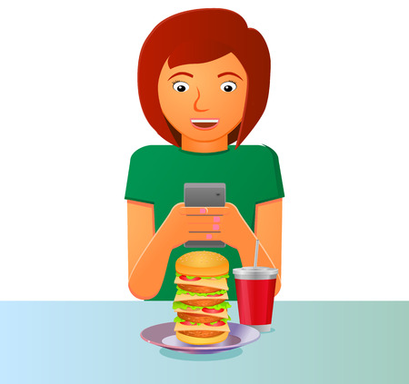 Woman taking a picture of food vector icon