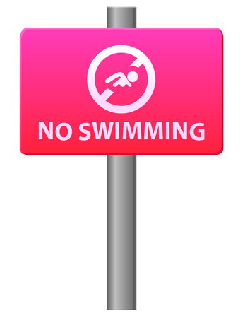 no swimming sign: No swimming sign post vector icon Illustration