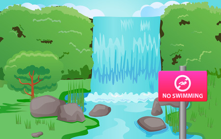 no swimming sign: No swimming sign at the waterfalls vector icon