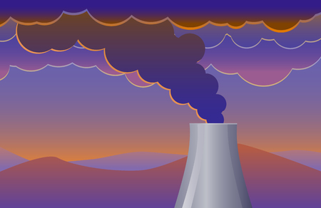 coming out: Smoke pollution coming out of a factor chimney vector