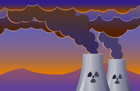 Nuclear plant tower emitting smoke vector