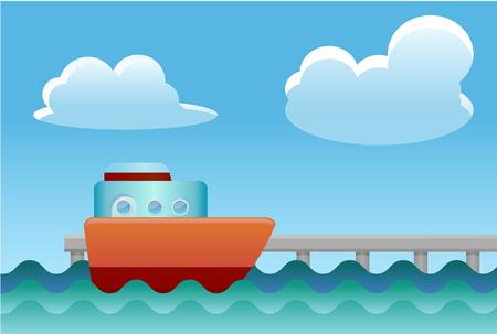 docking: ship docking on the pier vector icon Illustration