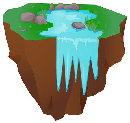 river rock: Floating island with falling water vector icon