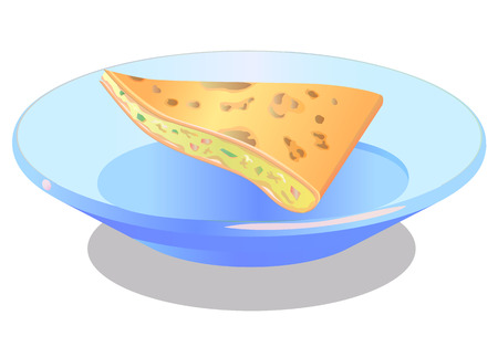 food dish: Quesadilla Mexican food vector icon Illustration