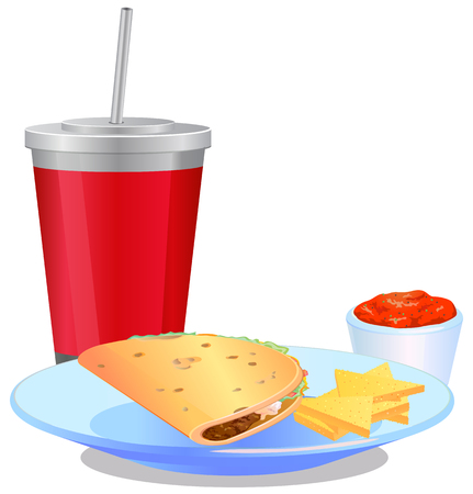 chips and salsa: Taco Mexican meal with nacho chips, drinks and salsa  vector icon