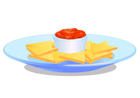 chips and salsa: Nacho chips with salsa on plate vector icon Illustration