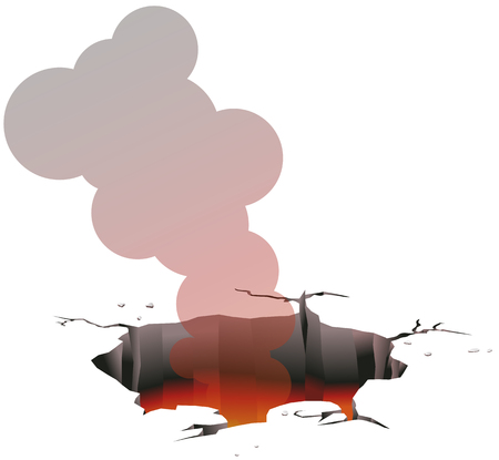 Ground hole emitting fire and smoke vector