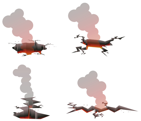 Ground crack or hole with fire and smoke vector icon