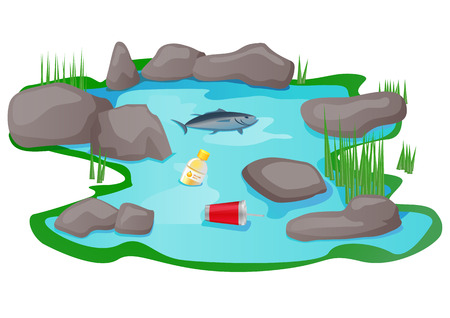 Polluted lake or pond vector icon