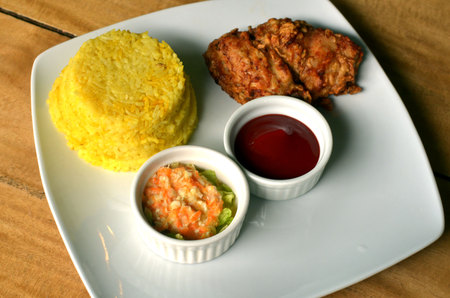 South east Asian fried chicken meal photo