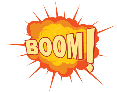 Explosion with Boom text on foreground vector icon