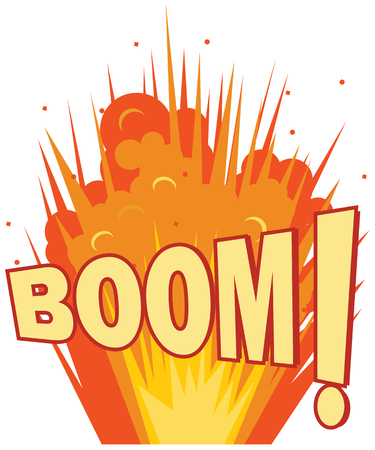 Ground explosion with Boom text vector icon Illustration