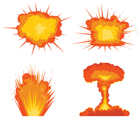 Four types of explosions vector icon Illustration