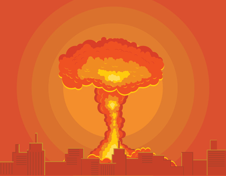 Atomic or nuclear bomb detonated in a city vector illustration