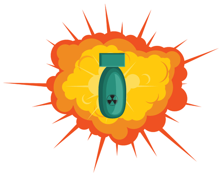 Explosion and radioactive bomb vector icon