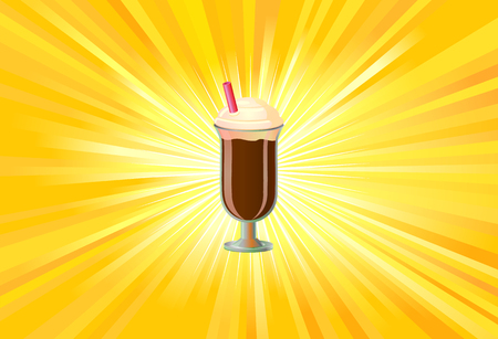 lightrays: Chocolate smoothie or blended drink on yellow background vector Illustration
