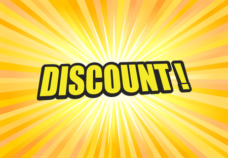 Discount text or label on yellow light background vector