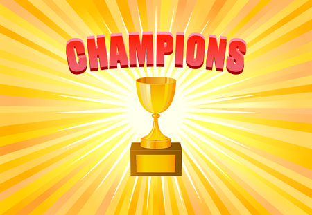 lightrays: Champions trophy on yellow light background vector