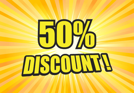 50 percent discount sign on yellow light background vector Illustration
