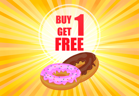 Buy one get one donuts vector poster
