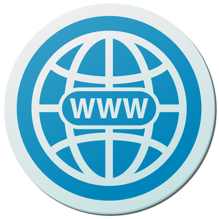 World wide web blue sticker vector icon