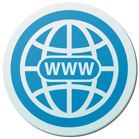 World wide web blue sticker vector icon