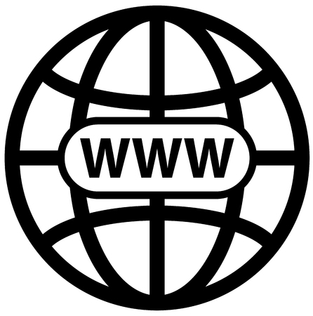 Black world wide web globe symbol vector icon