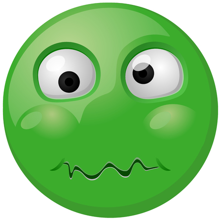 Green disgusted or vomit emoji or emoticon vector icon
