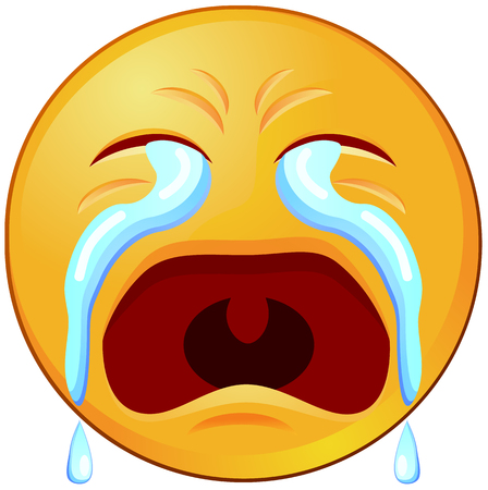 Icono de vector de emoji o emoticon llorando