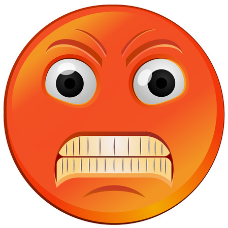 Red fuming or raging angry emoji vector icon. 向量圖像