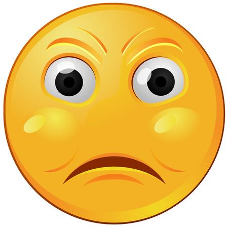 Angry yellow emoji vector icon.