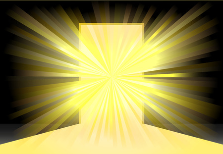 Bright yellow light on center of an open door  icon Ilustrace