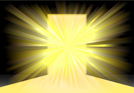 Helder geel licht op het midden van een open deur icoon