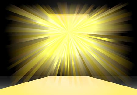 lightrays: Bright yellow light on square window vector icon