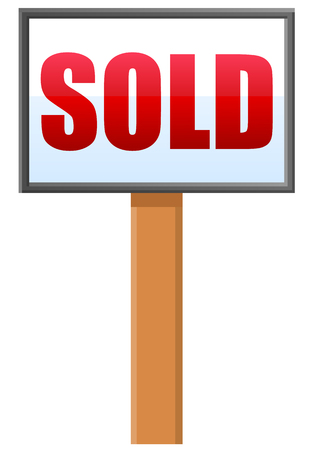 wooden post: Sold sign post vector icon Illustration