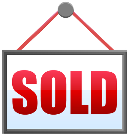 real estate sold: Hanging sold sign vector icon Illustration