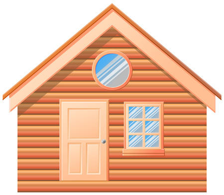 Small log cabin or house in front view vector icon