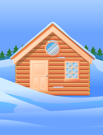 Wooden cabin or small house in the snow vector icon Ilustração