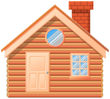 Woode cabin with chimney vector icon