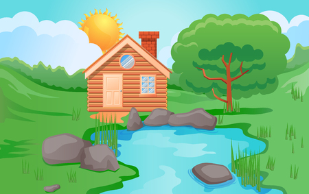 Wooden cabin surrounded by nature, pond or trees vector illustration Illustration