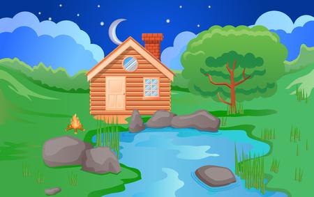 Houten hut bij nacht vectorillustratie