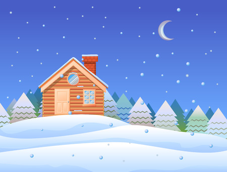 Woode cabin and snow falling on a hill at night vector illustration