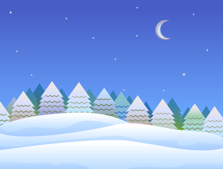 Pine trees and snow covered hill at night illustration.