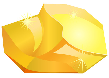Gold nugget or stone vector icon Illustration