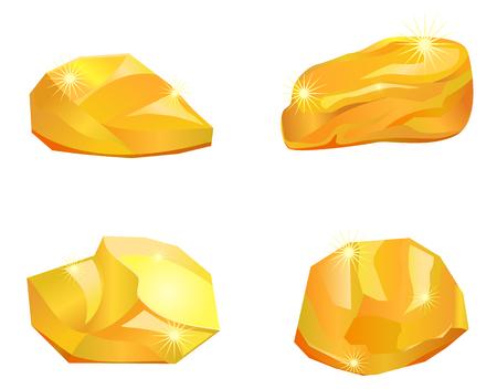 4 つの金塊の図。  イラスト・ベクター素材