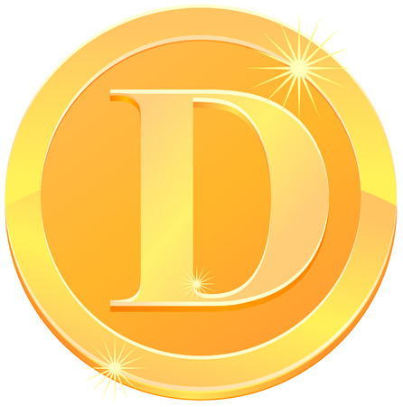 Gold letter D coin vector icon